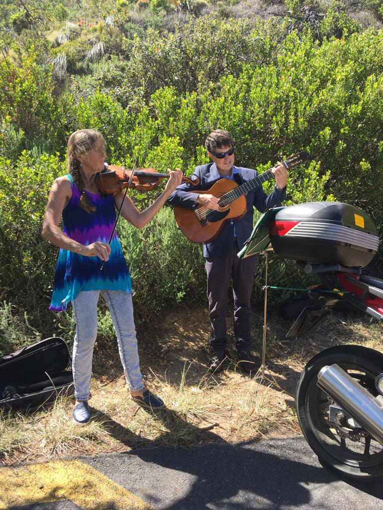 Violin and guitar on the Chapman's Peak turnaround, Hout Bay, Cape Town